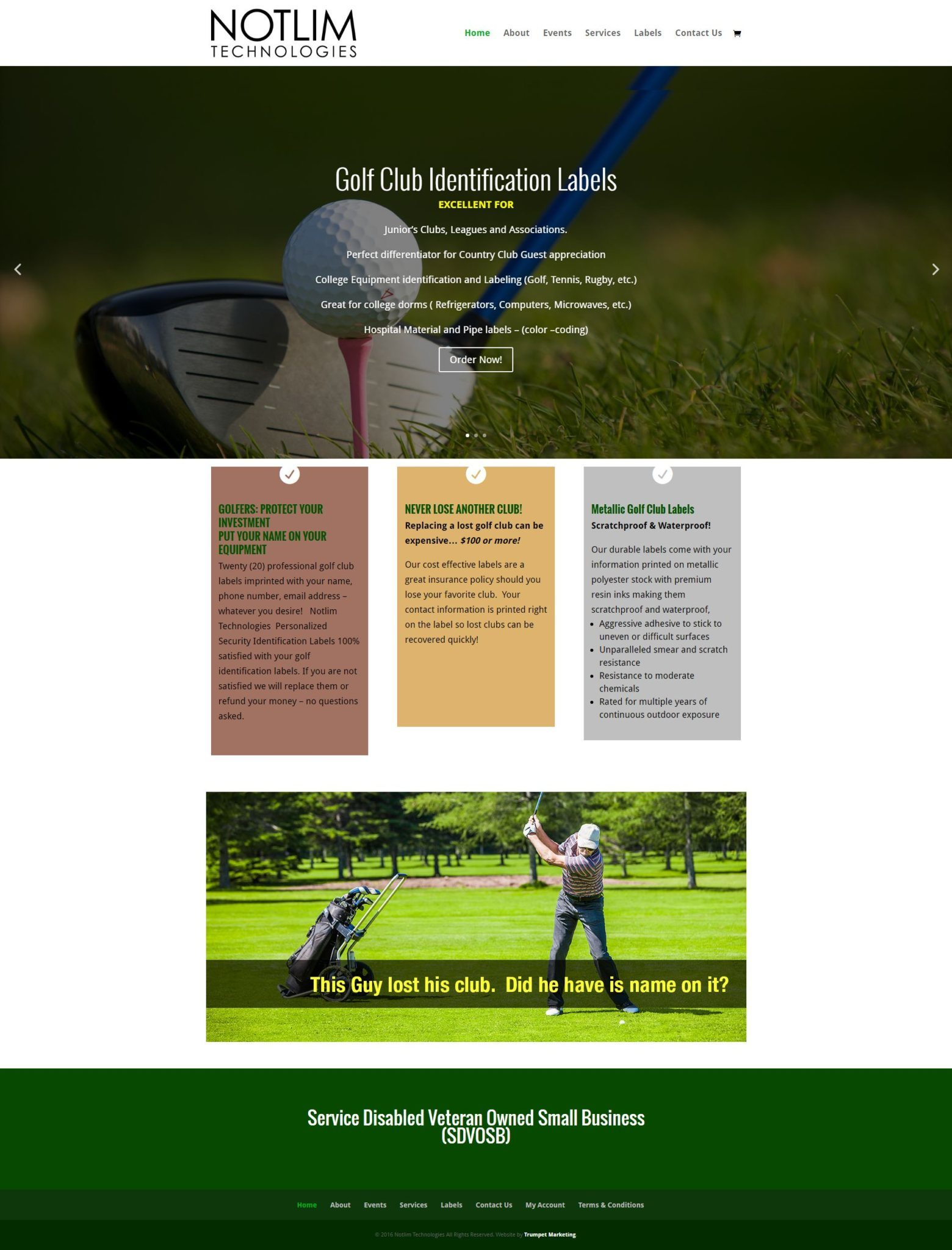 Golf Club Label eCommerce Website