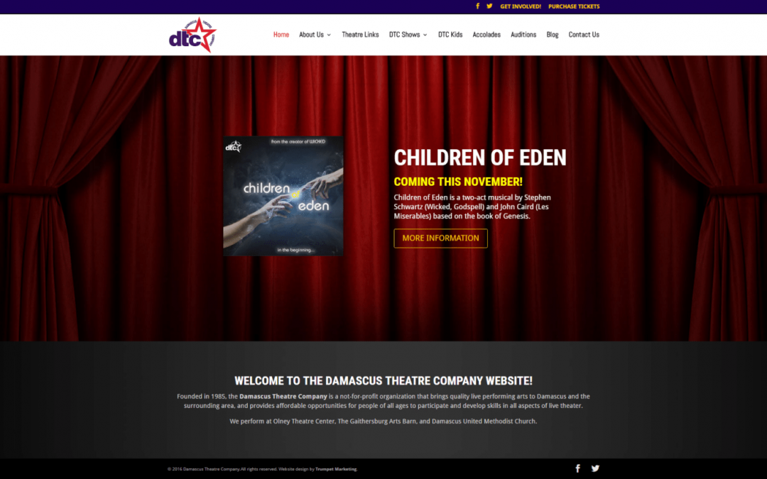 Maryland Community Theatre Website Design