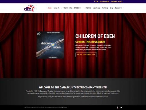 Maryland Community Theatre Website Design