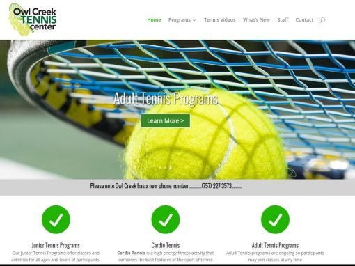 Tennis Center Website Design